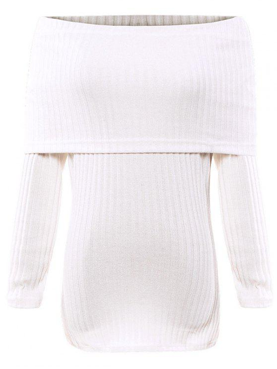chic Foldover Off The Shoulder Jumper - WHITE S