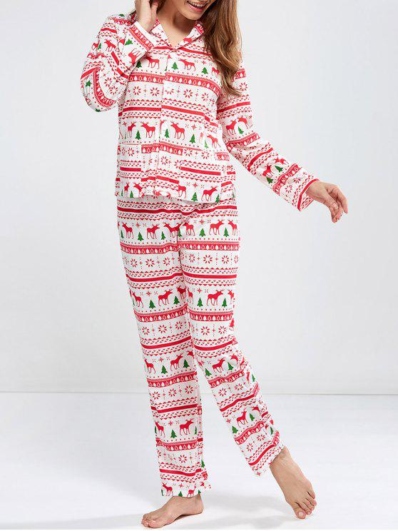 new Deer Print Long Sleeve Christmas Pajamas - RED S