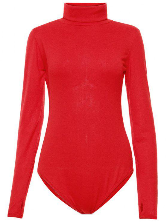 chic Gloved Sleeve Turtle Neck Bodysuit - RED M