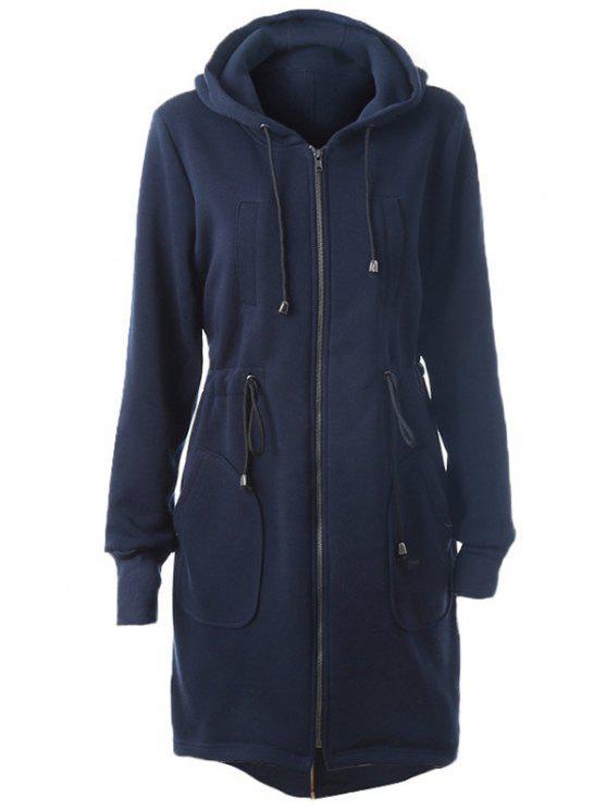 Hoodie long zippé avec lacet et poches - Cadetblue L