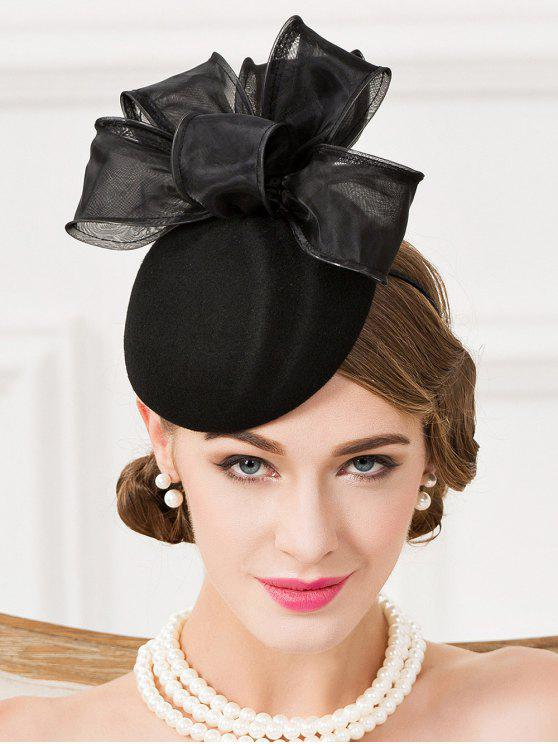 fashion Stylish Bowknot Cocktail Hat - BLACK