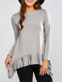 Fringed Asymmetrical Tee - Gray M