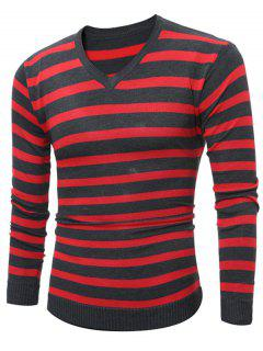 V Neck Striped Knitting Sweater - Red M