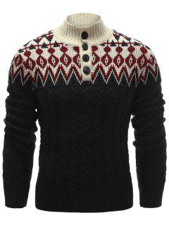 Zigzag Pattern Button Up Cable Knit Sweater - Black L