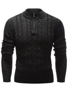 Stand Collar Half Zip Up Cable Knit Sweater - Black L