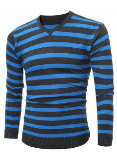 V Neck Striped Knitting Sweater - Sky Blue M
