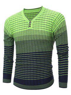 V Cuello Del Suéter Que Hace Punto Rayada Ombre - Verde L