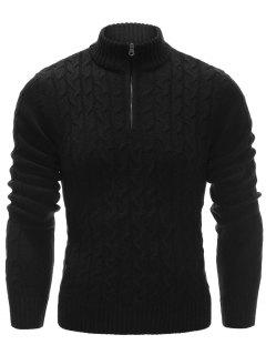 Half Zip Up Cable Knit Pullover Sweater - Black L