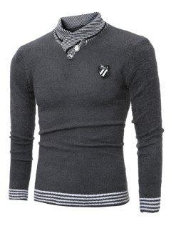 Cuello Esmoquin Botón Adornado De La Insignia Del Suéter - Gris Oscuro Xl