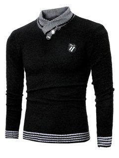 Shawl Collar Button Embellished Badge Sweater - Black Xl