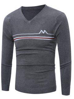 V Neck Striped Selvedge Embellished Knitting Sweater - Deep Gray L