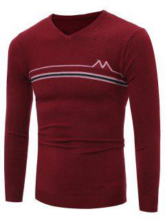 V Neck Striped Selvedge Embellished Knitting Sweater - Wine Red Xl