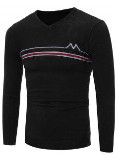 V Neck Striped Selvedge Embellished Knitting Sweater - Black Xl