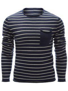 Round Neck Chest Pocket Striped Sweater - Cadetblue M