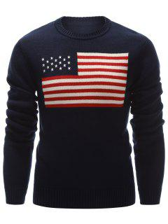 Crew Neck American Flag Pullover Sweater - Cadetblue M