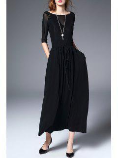 Cuello Del Barco De La Línea Vestido De Maxi - Negro S