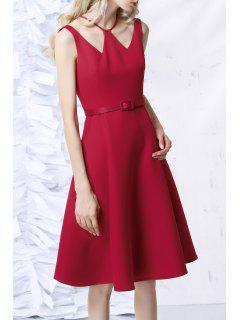 Sleeveless V Neck A Line Dress - Red Xs