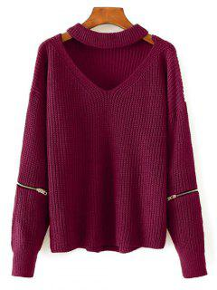 Cut Out Chunky Choker Sweater - Wine Red