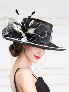 Summer Sunscreen Cocktail Organza Wide Brim Hat - Black