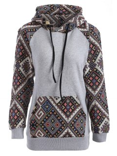 Front Pocket Jacquard Panelled Hoodie - Black And Grey L