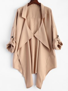 Plus Size Rolled Sleeve Draped Trench Coat - Khaki 2xl