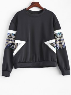 Patched Sequin Sweatshirt - Black S