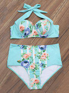 Floral Print Underwire High Rise Bikini - Turquoise S
