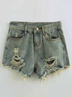 Ripped Denim Hot Pants - Light Blue S