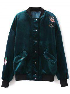 Embroidered Single Breasted Velvet Jacket - Peacock Blue S