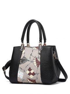 Color Block Flag Print Handbag - Light Gray