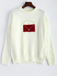 Crew Neck Faux Pearl Patched Knitwear - Off-white