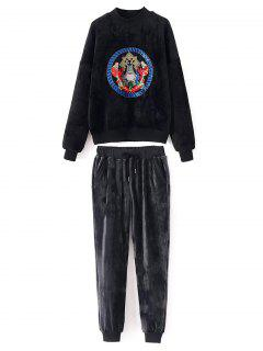 Embroidered Velvet Sweatshirt And Pants - Black M