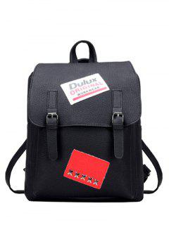 Buckles Straps Patches PU Leather Backpack - Black