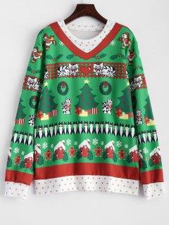 Christmas Pattern Pullover Sweatshirt - Green