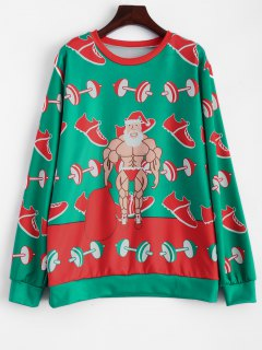 Muscles Santa Claus Sweatshirt - Green