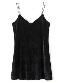 Robe Mini  Cami à Bretelles En Velours - Noir S