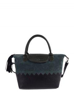 Suede Panel Color Block Tassel Handbag - Green