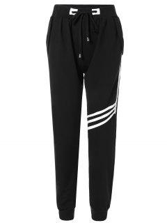Pantalon Sportif Rayé Avec Cordon De Serrage - Noir