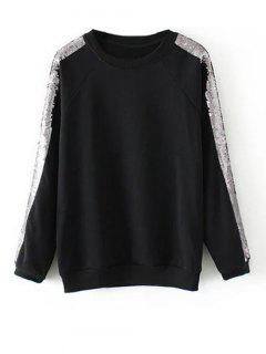 Sequins Raglan Sleeve Sweatshirt - Black M