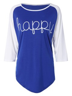 Color Block Happy T Shirt - Blue Xl