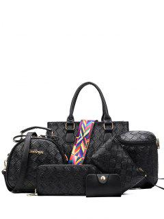 Weaving Handbag With Colored Strap - Black