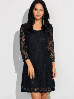 Short Lace Dress With Sleeves - Black M