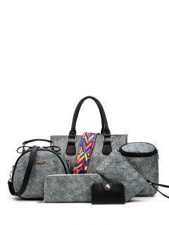 Weaving Handbag With Colored Strap - Gray