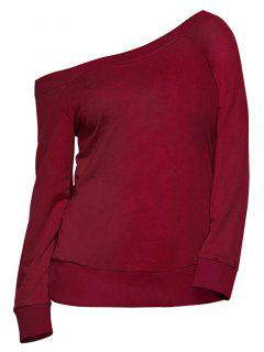 Pullover One Shoulder Sweatshirt - Burgundy L