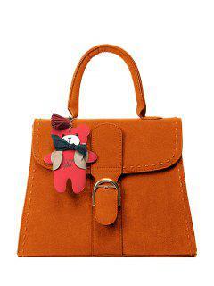 Buckle Cartoon Pendant PU Leather Tote - Orange