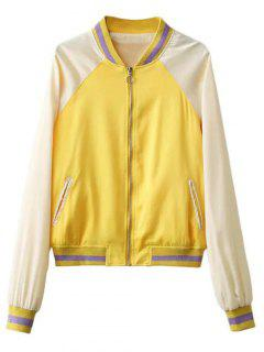 Color Block Zip Up Baseball Jacke - Gelb S