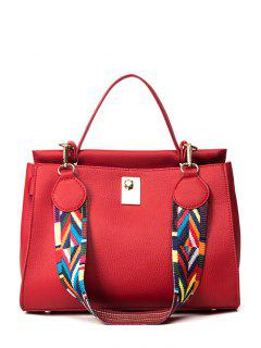 Colored Strap PU Leather Handbag - Red