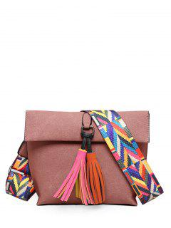 Tassels Magnetic Closure Colour Block Crossbody Bag - Pink