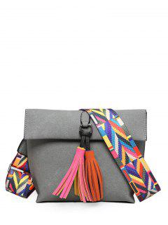 Tassels Magnetic Closure Colour Block Crossbody Bag - Gray