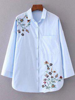 Camisa Bordada Floral De Cuello Camisa - Azur L